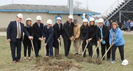 Some members of the Champions Center Team break ground on the site of the future Wyoming Champions Center